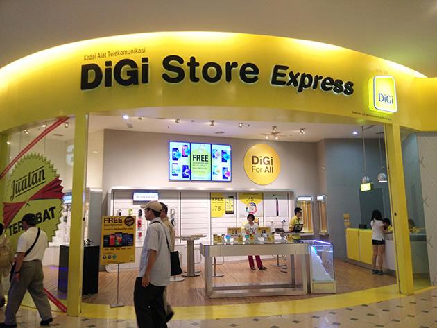 クアラルンプール市内のDiGi Telecommunicationsの販売店。他社と同じようにアクセサリ類も取り扱う。
