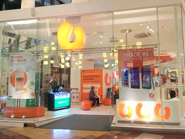 クアラルンプール市内のU Mobileの販売店にも広東欧珀移動通信のブースが設置されている。販売店はガラス張りでお洒落に仕上げられている。