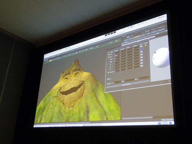 Pixarの制作の現場でもGPUは不可欠でありクオリティの向上にもつながっていることがショートフィルム作品を例に紹介された。