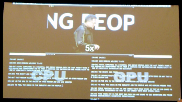 CPUとGPUを使った音声認識処理の速度はCPUの22倍にできることが基調講演のビデオを例に紹介された。