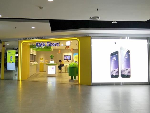 クアラルンプール国際空港内にあるDiGi Telecommunicationsの販売店。プリペイドSIMカードは買えるが、LTEサービスは利用できない。