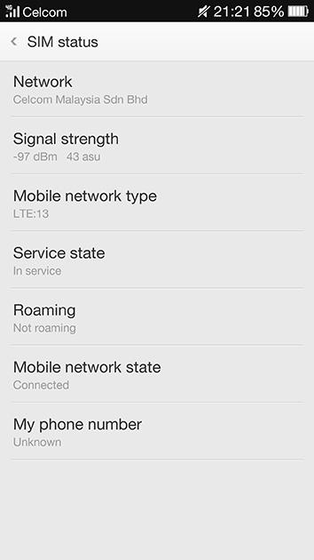 Celcom AxiataのLTEネットワークに接続している。