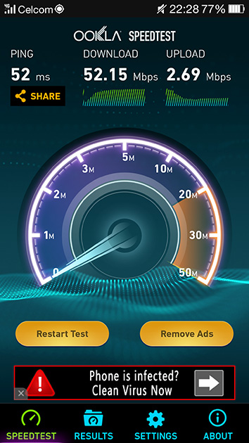 Celcom AxiataのLTEネットワークにおいて通信速度を測定してみた。