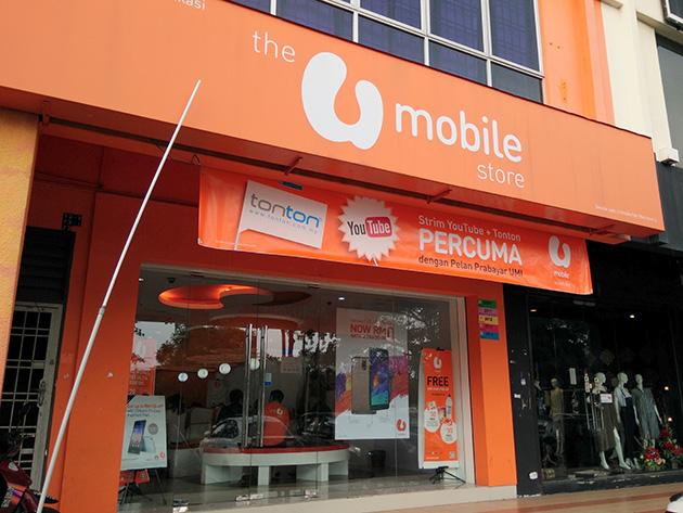 タマンモレックにあるU Mobileの販売店。