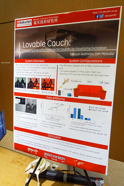 楽天技術研究所 Takuya Iwamoto, Soh MasukoのLovable Couch。心拍数を計測するセンサーをつけて座り、心拍数が上がってくるとイスに仕込んだLEDが赤く光ることで、お互いどきどきして恋に落ちる感覚が加速するソファー