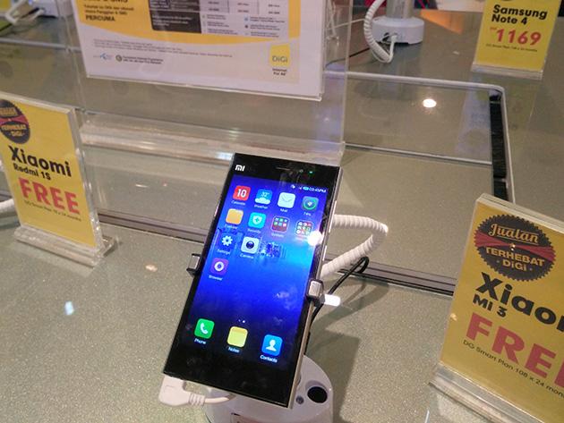 DiGi Telecommunicationsの販売店ではXiaomi Mi 3が販売されていた。