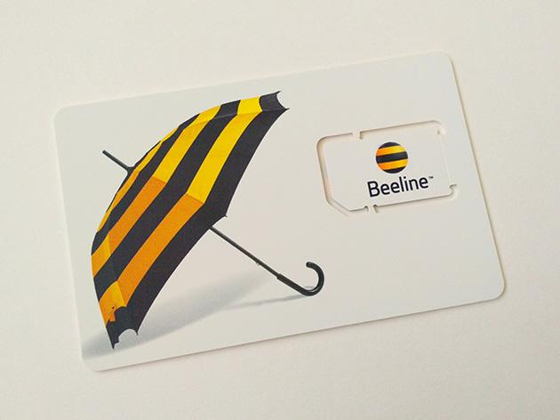 Beeline CambodiaのSIMカード。Mini SIM (2FF)サイズとなっている。