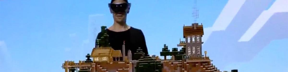 マイクロソフト、「HoloLens」対応の「Minecraft」をデモ