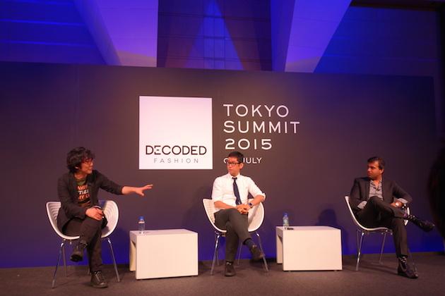WIRED JAPAN編集長の若林 恵氏(左)と、Origami創設者兼CEOの康井義貴氏(中央)と、FARFETCHチーフグロースオフィサーのタリーブ・ノールモハメッド氏(右)