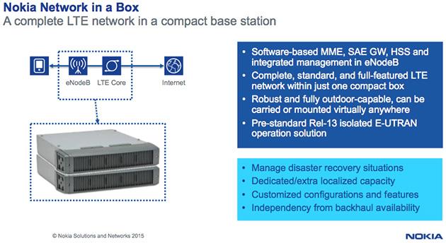 災害時などにネットワークを迅速に構築できる「Nokia Network in a Box」