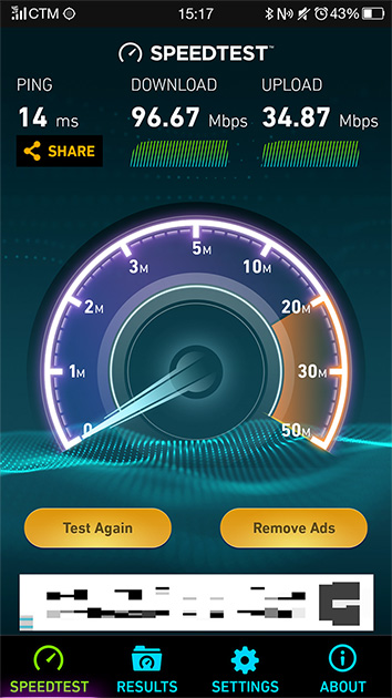 CTMが提供するFDD-LTE方式の1.8GHz帯に接続して通信速度を測定した。