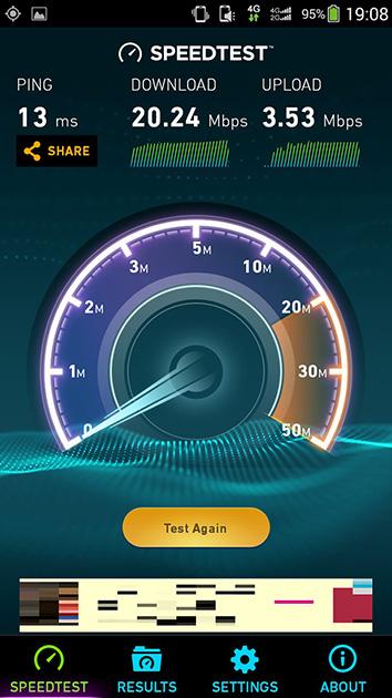 CTMが提供するTD-LTE方式の2.3GHz帯に接続して通信速度を測定した。
