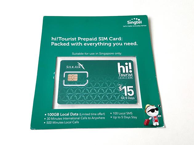 シンガポール航空の子会社であるシルクエアーの機内で販売されているSTMのSIMカード。シルクエアーのデザインを採用する。