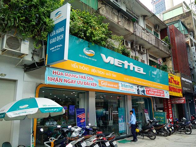 LTEサービス対応SIMカードの提供を開始したViettel Telecomの販売店。