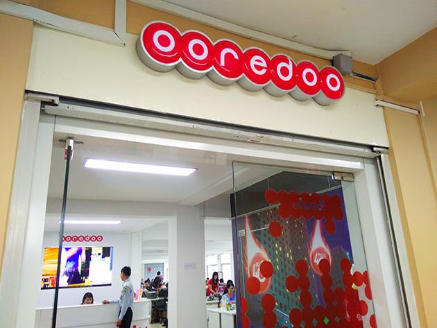 Ooredoo Myanmarの本社受付。
