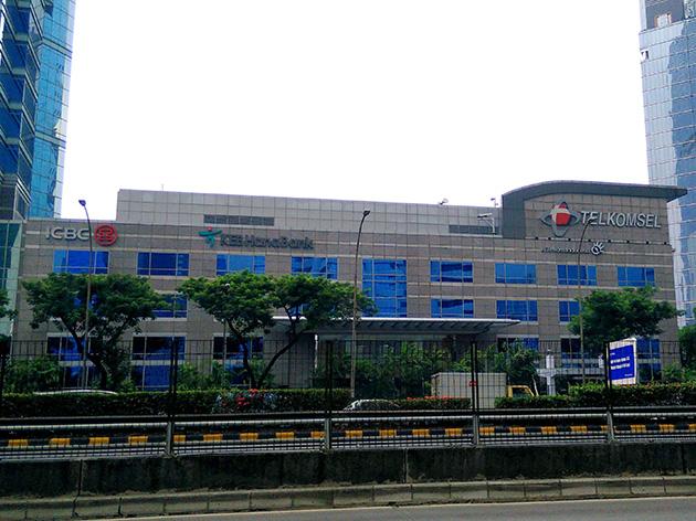 ジャカルタにあるTelekomunikasi Selularの本社。