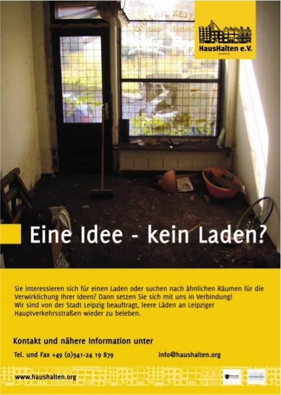 ハウスハルテンの広告:アイディアはあるけど場所がない?ハウスハルテンに相談してください (c)HausHalten e.V.