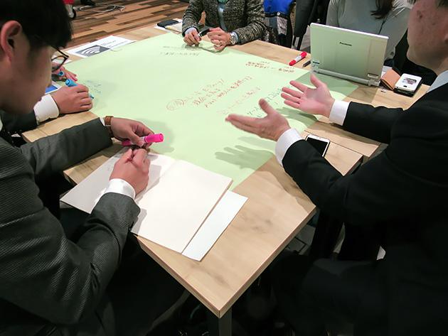 新本氏の2つのレクチャーを受けて、参加者によるグループセッションが行われた。各20分間という短い時間だったが、各人が自分なりの考えを持ち帰った。