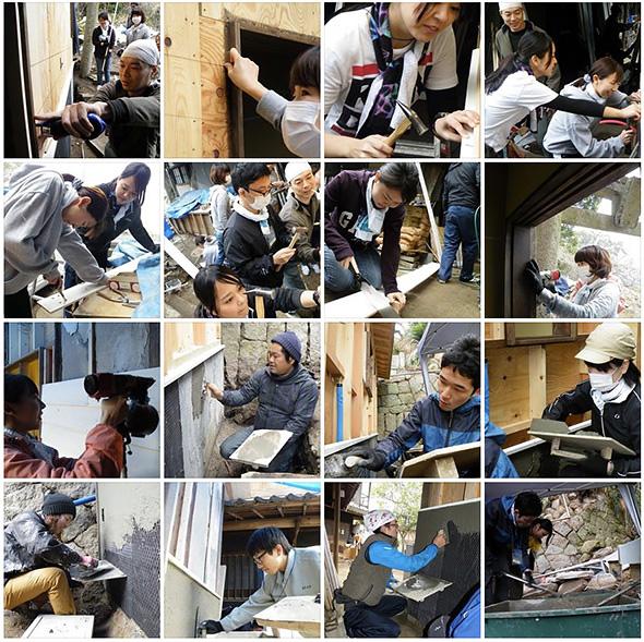 空き家再生合宿の様子。全国から集まった参加者とともに空き家を改修していく。(c)NPO法人尾道空き家再生プロジェクト