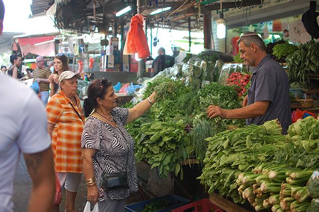 豊富な農産物が目を引く市場