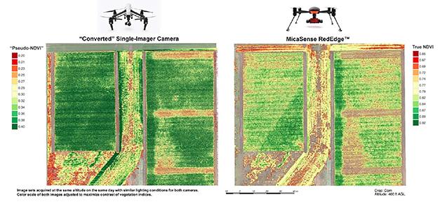下図の左が既存のセンサーで測定したNDVIの写真、右が彼等のセンサーで複数の指標から測定したNDVIの例である。
