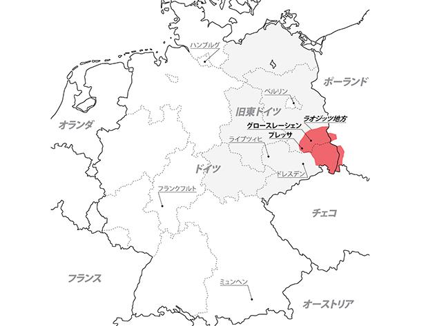 旧ドイツラオジッツ地方周辺の地図