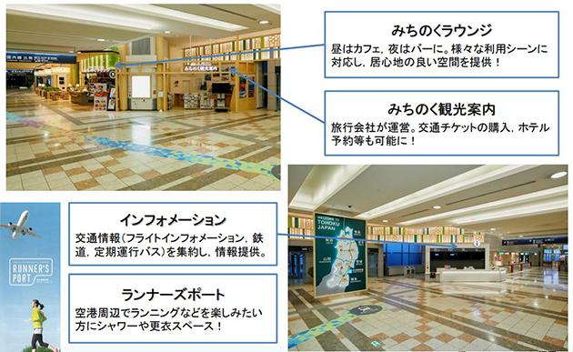 リニューアルされた仙台空港内の施設の様子