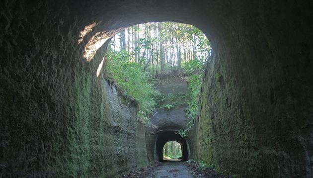 途中に大きな吹き抜けのある素掘りトンネル。真ん中が崩落したからこうしたのだろうか。房総にはほかにも異形のトンネルがたくさんある。(写真:中野純)