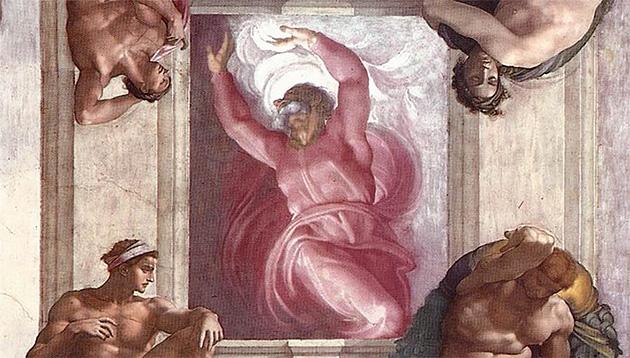 「光と闇の分離」ミケランジェロ画、システィーナ礼拝堂天井画、1509年