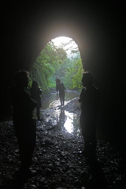 新潟県十日町市のマブ。トンネルに入るとホールのように広い空間が。2012年、中里さんの案内で同志がここに集まり、すぐそこにあるサイハテを愛でる「サイハテ学会」を設立した。