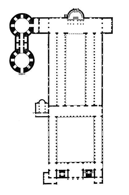 図1──縦長のキリスト教会。奥が祭壇。右がローマのサン・ピエトロ教会の平面図、330。(『世界建築全集7 西洋II 中世』平凡社、1961)