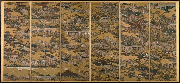 図12──京都市中とその周辺を描いた、岩佐又兵衛〈洛中洛外図〉1615(「洛中洛外図」wikipedia)