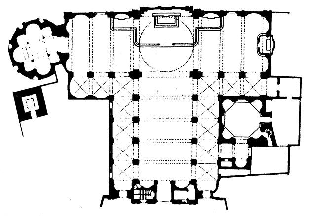 図4──サン・サティロ教会の平面図、1482。中央奥の祭壇の後ろにだまし絵がある。だまし絵を描いたドナト・ブラマンテは、この教会も設計している。(『アール・ヴィヴァン叢書 空間の発見I ヴィアトールの透視図法1505』横山正(監修)、リブロポート、1981)