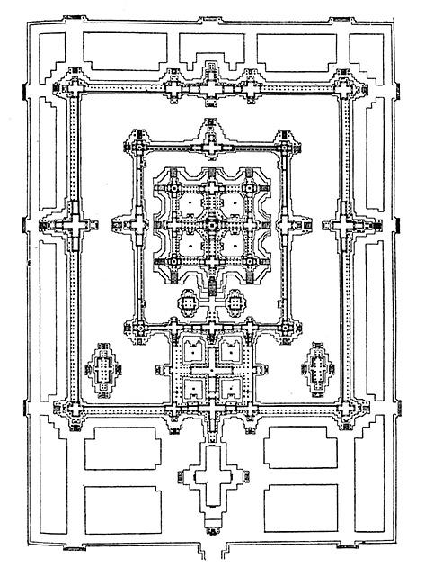 図7──カンボジア、アンコールワットの平面図、12世紀。中央の正方形を長方形が囲んでいる。(『世界建築全集4 インド・東南アジア・中国・朝鮮・中南米』平凡社、1959)