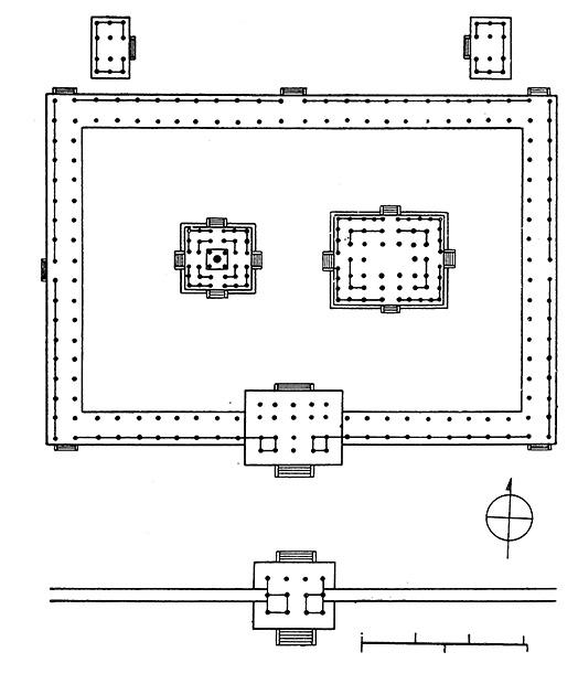 図8──法隆寺の平面図、7世紀。中央左の五重塔は正方形だが、それ以外の、右の3:2の金堂もふくめて、すべて横長。(『世界建築全集4 インド・東南アジア・中国・朝鮮・中南米』平凡社、1959)