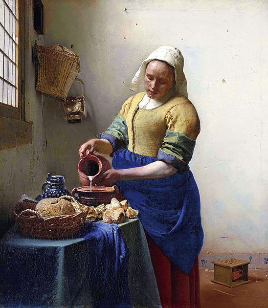 図10──フェルメール〈牛乳を注ぐ女〉1658〜60。(「ヨハネス・フェルメール」wikipedia)