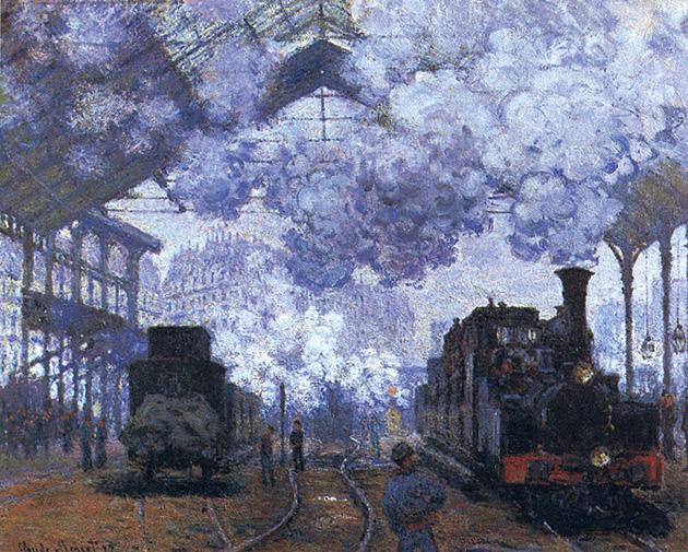 図12──クロード・モネ〈サン・ラザール駅〉1877(「クロード・モネ」wikipedia)