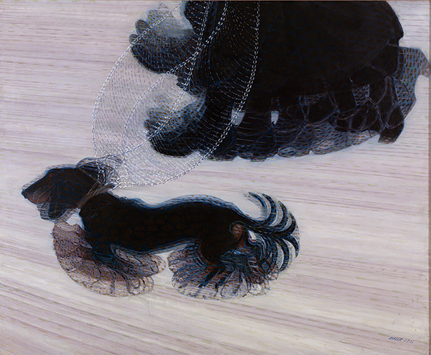 図15──ジャコモ・バッラ〈鎖に繋がれた犬のダイナミズム〉1912。(「Giacomo Balla」wikipedia)