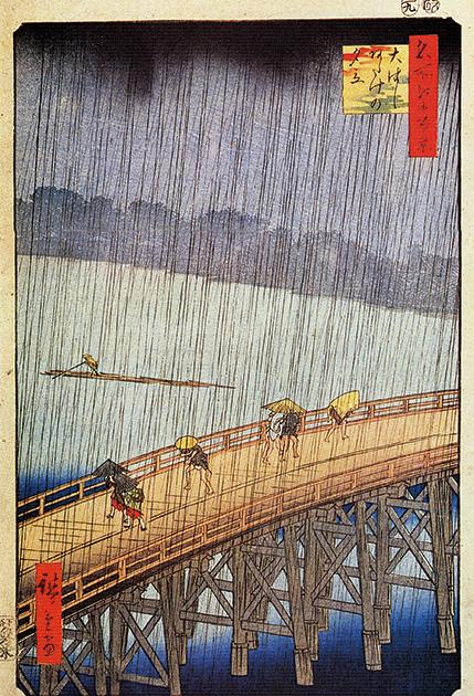 図26──歌川広重〈名所江戸百景大はし あたけの夕立〉1856-58。(「歌川広重」wikipedia)