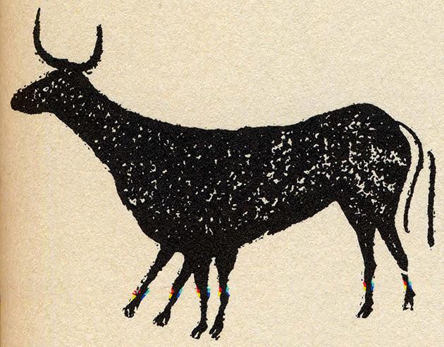 図5──スペインで発見された6本足と2本の尾を持つ牡牛。動いているさまの表現。