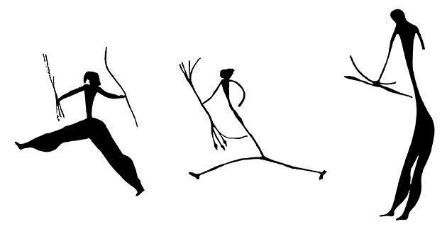 図7──動きをあらわしたために胴が伸びたり、足が太くなっている。(『美術の始原』木村重信、新潮社、1971)