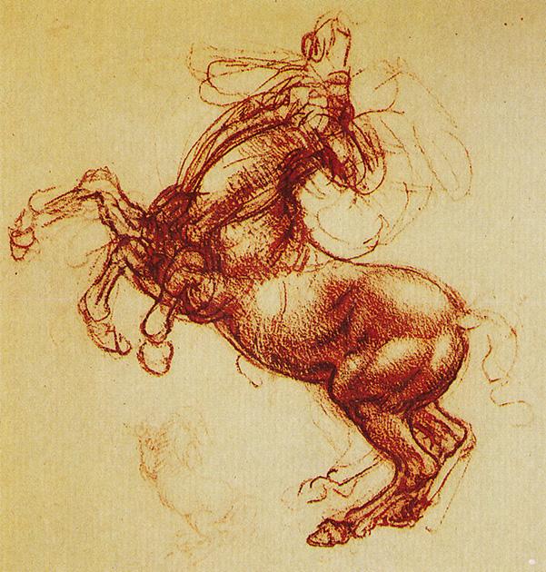 図9──レオナルド・ダ・ヴィンチの暴れる馬。(『イタリア・ルネサンスの巨匠たち18 レオナルド・ダ・ヴィンチ』ブルーノ・サンティ、東京書籍、1993)