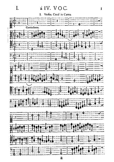 図6──ドイツ初期バロックの宮廷オルガン奏者で作曲家、ザムエル・シャイトの鍵盤曲集『新奏法譜集』(1642)。垂直の小節線が加わっている。(『楽譜の歴史』皆川達雄、音楽之友社、1985)