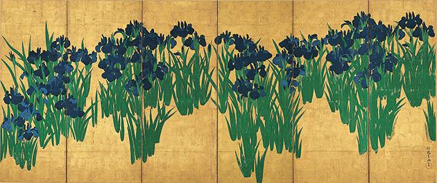 図11──尾形光琳も俵屋宗達と同様、背景を金箔で覆っている。尾形光琳〈燕子花図〉18世紀はじめ。(「尾形光琳」wikipedia)