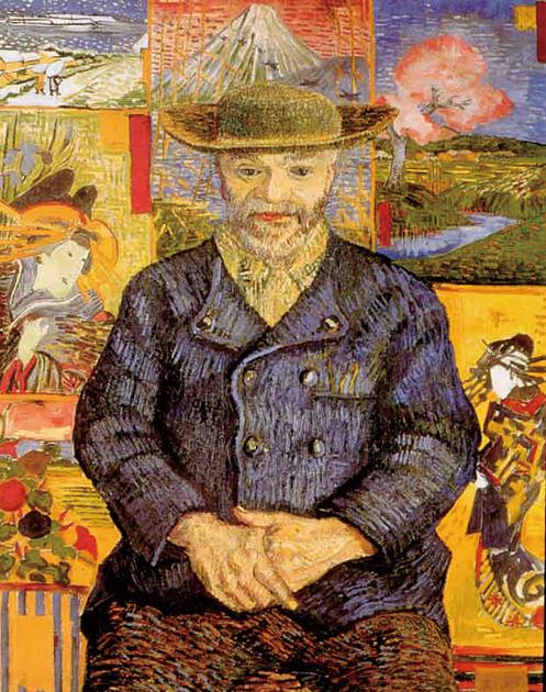 図12──背景が浮世絵の模写で埋められている、ゴッホ〈タンギー爺さん〉1887。(「フィンセント・ファン・ゴッホ」wikipedia)