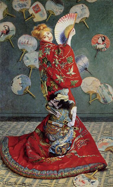 図13──着物、扇子、団扇と日本趣味が全面に満ちているモネ〈ラ・ジャポネーズ〉1876。(「クロード・モネ」wikipedia)