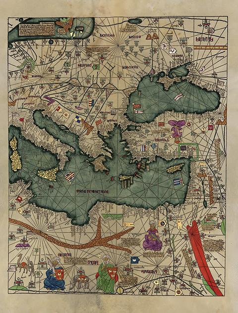 図14──東地中海周辺を描いたカタロニア地図の一部、1375。(「Catalan Atlas」wikipedia)