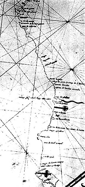 図15──ポルトガルの航海士、ディエゴ・カンが描いた、アフリカのギニア東岸からサンタ=マリア岬までのポルトラノ図(沿岸地図)。1490ごろ。(『地図の歴史』織田武雄、講談社、1973)