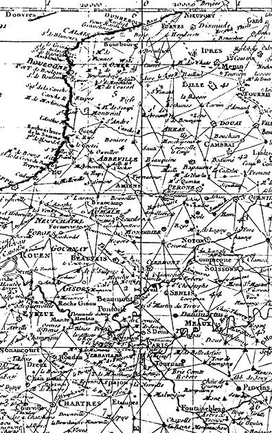 図17──ジョヴァンニ・マラディとジャック・カッシーニによるフランスの三角測量図(部分)、1744。(『地図を作った人びと──古代から観測衛星最前線にいたる地図製作の歴史』ジョン・ノーブル・ウィルフォード、鈴木主税(訳)、河出書房新社、1988