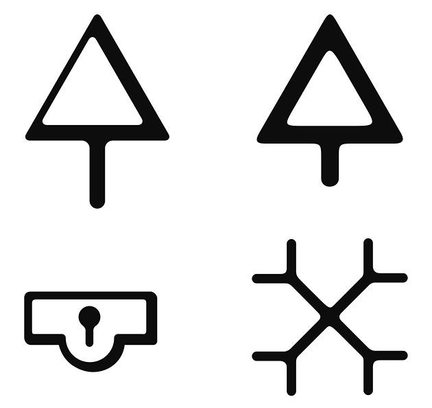図19──上、裁判所の地図記号の変遷。上左:明治18年(1885)図式、上右:昭和30年(1955)に制定された現在の図式。 下、刑務所の地図記号の変遷。上左、明治18年(1885)図式、上右、明治28年(1895)図式。昭和40年(1965)に廃止。(『et(エ)──128件の記号事件ファイル』松田行正、牛若丸、2008)